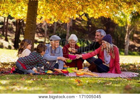 Multi-generation family having breakfast at park during autumn