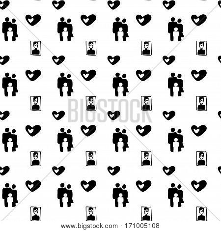 Vector hand drawn cartoon seamless parents and child pattern. Family theme. Black and white family pattern for paper textile polygraphy game web design
