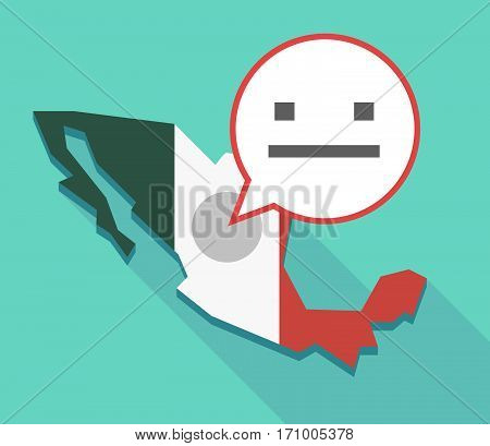 Long Shadow Mexico Map With A Emotionless Text Face