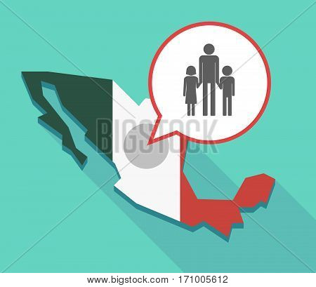 Long Shadow Mexico Map With A Male Single Parent Family Pictogram