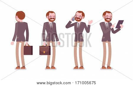 Set of male professional teacher in formal wear with bag, standing poses, talking on phone, holding tablet, before lesson, full length, front and rear view, isolated against white background
