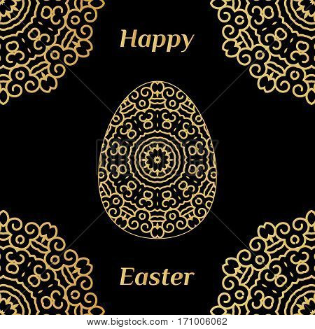 Happy Easter Card With Lacy Egg And Black Background Decorated With Mandala In Golden Color.