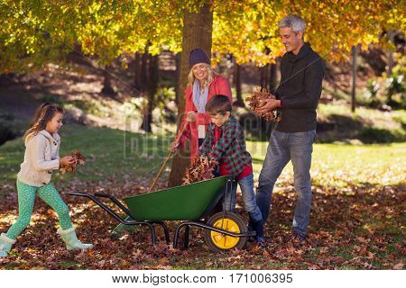 Happy family picking up autumn leaves at park