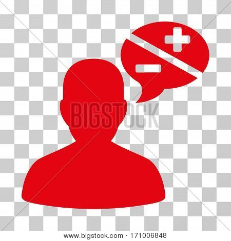Person Arguments icon. Vector illustration style is flat iconic symbol red color transparent background. Designed for web and software interfaces.