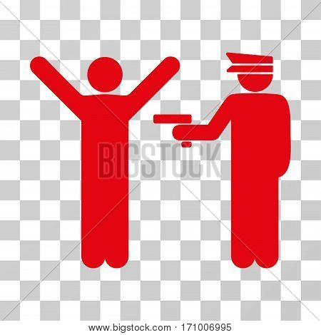 Police Arrest icon. Vector illustration style is flat iconic symbol red color transparent background. Designed for web and software interfaces.
