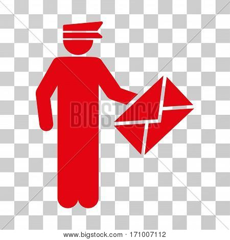 Postman icon. Vector illustration style is flat iconic symbol red color transparent background. Designed for web and software interfaces.