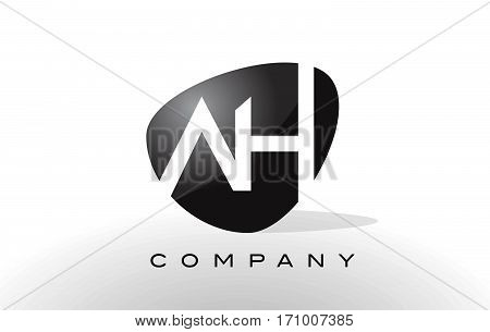 AH Logo. Letter Design Vector with Red and Black Colors.