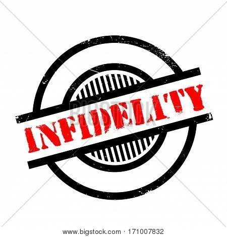 Infidelity rubber stamp. Grunge design with dust scratches. Effects can be easily removed for a clean, crisp look. Color is easily changed.