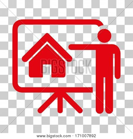 Realtor icon. Vector illustration style is flat iconic symbol red color transparent background. Designed for web and software interfaces.