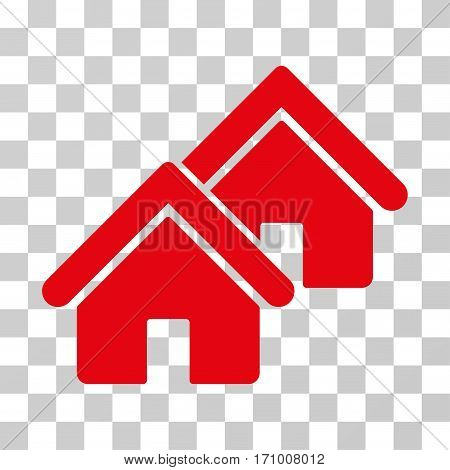 Realty icon. Vector illustration style is flat iconic symbol red color transparent background. Designed for web and software interfaces.