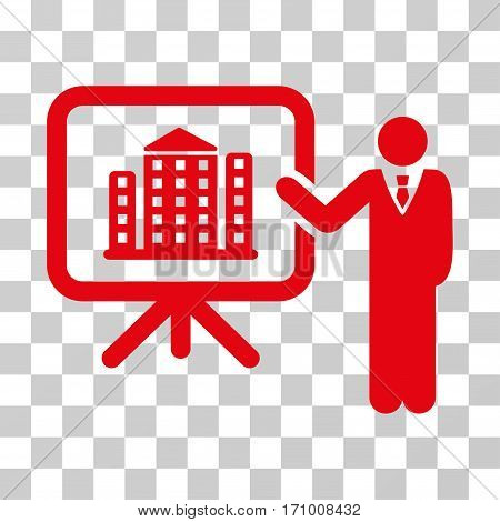 Realty Presention icon. Vector illustration style is flat iconic symbol red color transparent background. Designed for web and software interfaces.