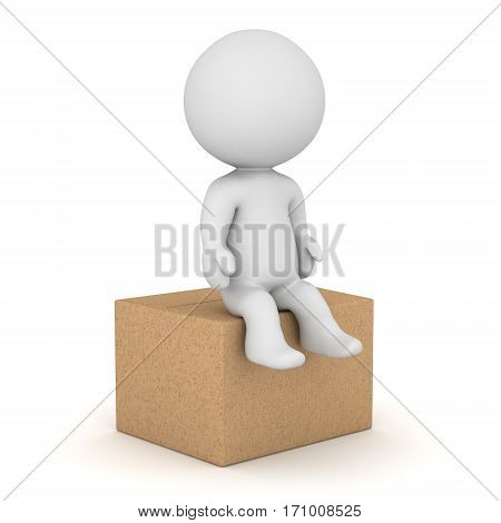 A 3D character sitting on a cardboard box. Isolated on white background.