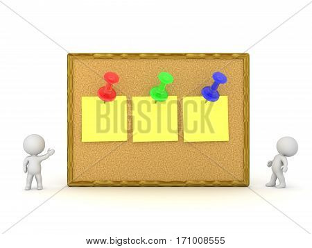 Two small 3D characters and a large cork board with three empty notes pinned. Isolated on white background.