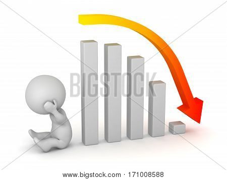 A sad 3D character and a bar chart showing a bad forecast. Isolated on white background.