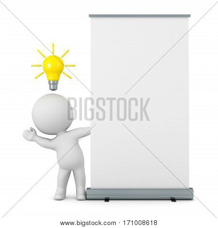 A 3D character with an idea light bulb waving from behind a roll-up poster. Isolated on white background.