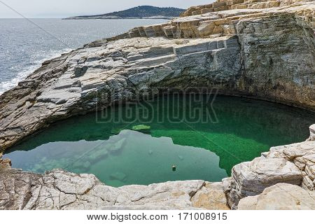 Clean waters of Giola Natural Pool in Thassos island, East Macedonia and Thrace, Greece