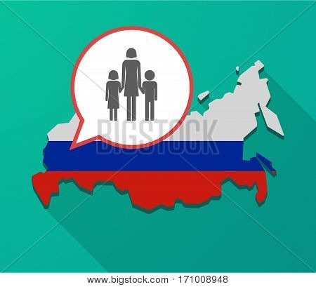 Long Shadow Russia Map With A Female Single Parent Family Pictogram