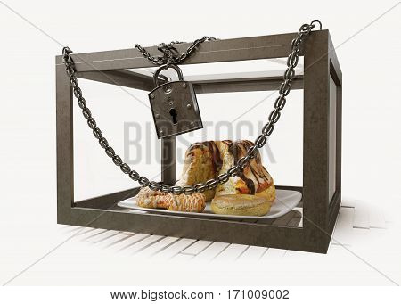 cakes in close metal box with chains diet concept composition photo