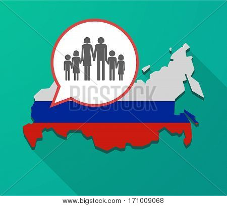 Long Shadow Russia Map With A Large Family  Pictogram