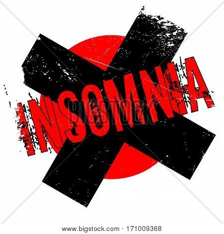 Insomnia rubber stamp. Grunge design with dust scratches. Effects can be easily removed for a clean, crisp look. Color is easily changed.