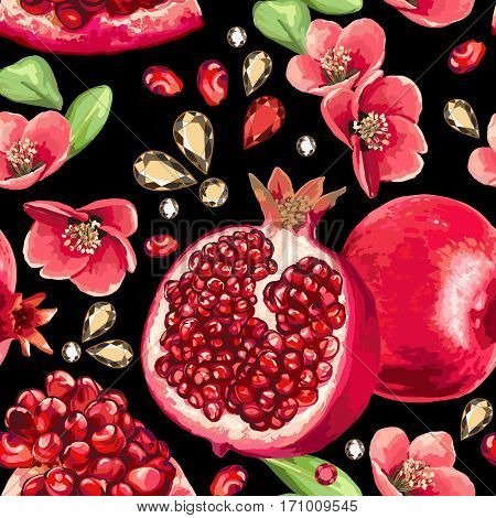 Pomegranate fruit and glass strass on a black background. Seamless pattern.