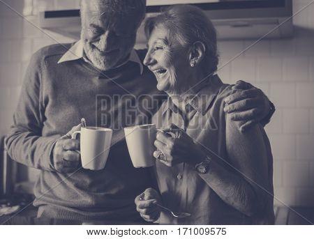 Senior Drink Tea Coffee Kitchen Happiness