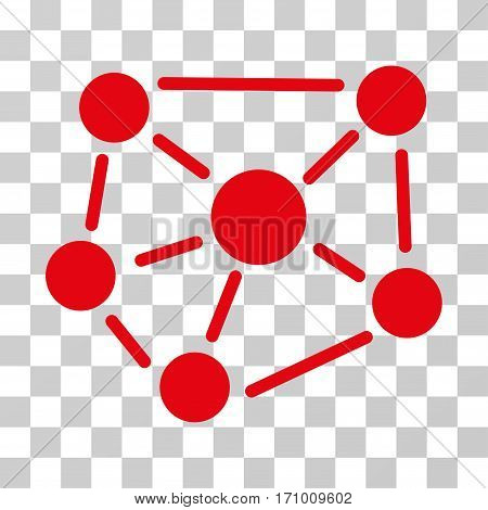 Social Graph icon. Vector illustration style is flat iconic symbol red color transparent background. Designed for web and software interfaces.