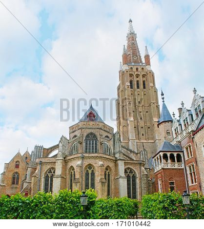 The Brick Gothic Church In Bruges