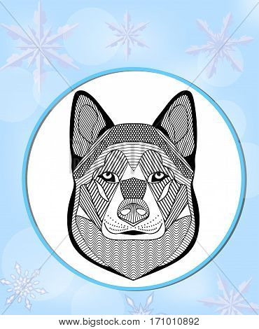 Malamute head. Flyer with malamute dog head on light blue background with snowflakes. Graphic template for dog racing mushing. Black and white line drawing.