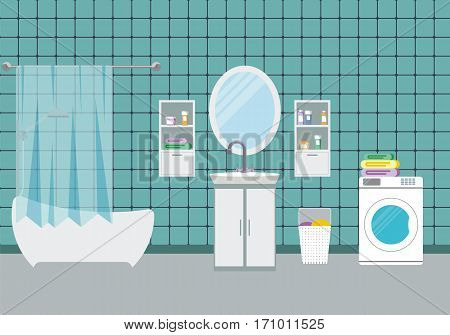 Bathroom interior design, vector illustration. Modern bathroom background with washbowl.