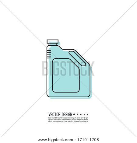 Canister under engine oil. Modern thin line icon. outline symbol. Vector. Can for lubricating material. The concept of service oil change, repair. linear style