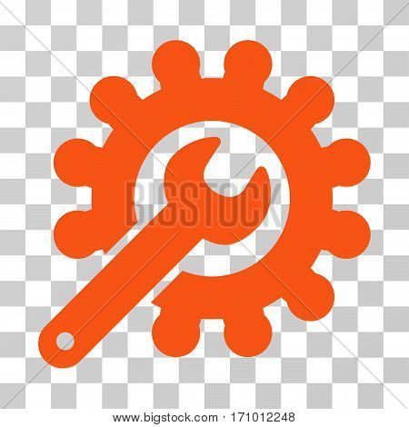 Wrench And Gear Customization Tools icon. Vector illustration style is flat iconic symbol orange color transparent background. Designed for web and software interfaces.