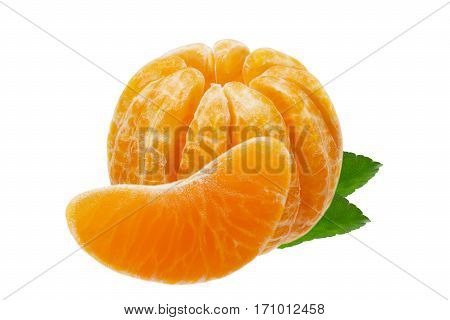 Isolated Mandarin. Peeled orange fruit mandarin with a share on a white background. Clipping path