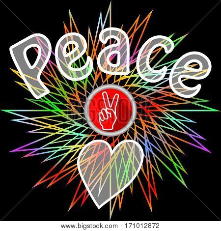 Peace leaflet. Semitransparent peace inscription, victoria finger gesture and heart on black background with rainbow line star shape. Flyer in retro hippies style. Antiwar theme