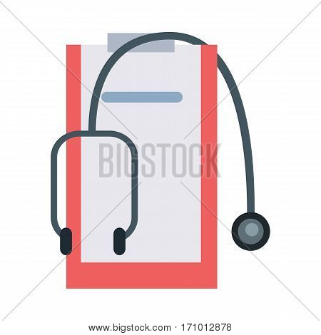 Medical tools and instruments vector in flat style. Stethoscope and doctors tablet with case history.  Illustration for medical and healthcare concepts. Isolated on white background