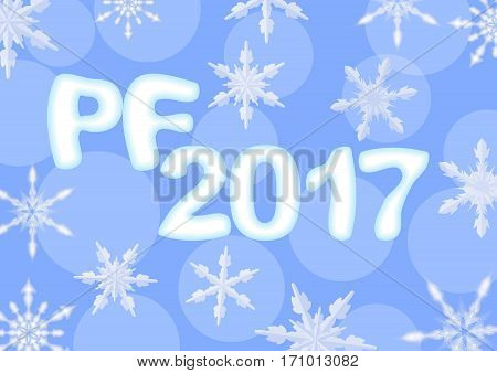 Happy new year 2017 decoration. Light blue poster with PF 2017 inscription ice letters bokeh background with snowflakes.