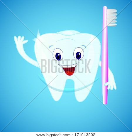 Smiling tooth with a toothbrush on blue background. Cartoon personage.