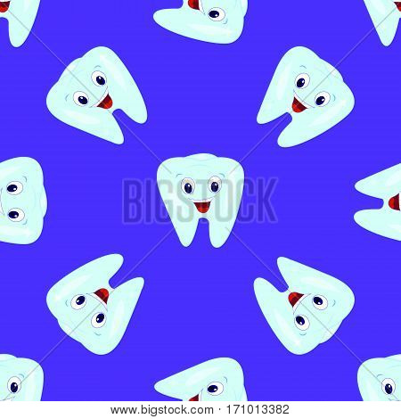 Vector seamless pattern with teeth on a blue background. Children's illustration on the theme of dentistry. The pattern of teeth
