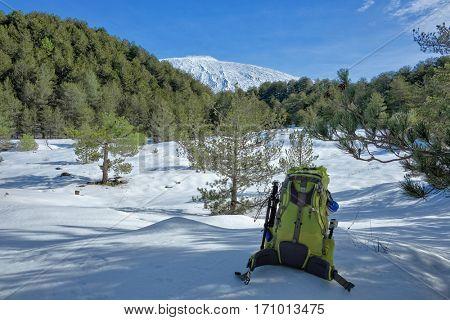 winter landscape with backpack in Etna Park, Sicily