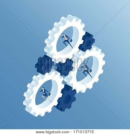 Business people run inside the gears and cause the mechanism to work. Businessmen running inside gear wheel thereby rotating them isometric illustration. Business concept team and the system