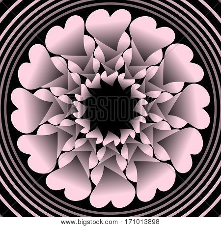 Pink plastic flower like fractal object on black background in concentric circle shapes vector decoration with 3d effect