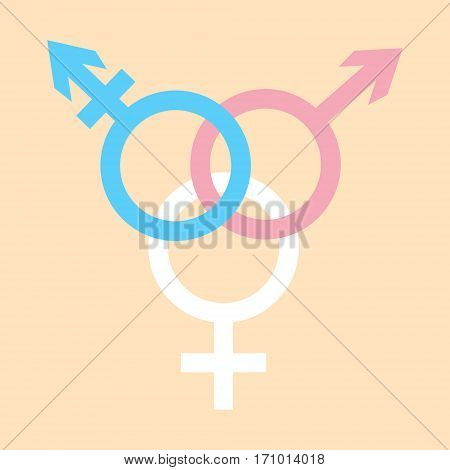 Vector icon of trans gender symbol combining gender symbols in colors of trans gender flag.