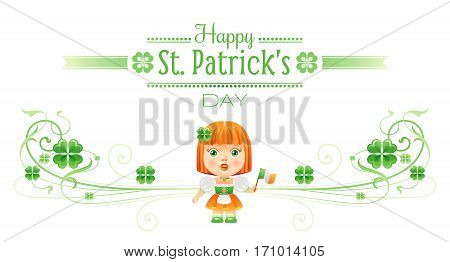 Happy Saint Patrick day border banner, isolated white background. Irish shamrock clover, green leaf frame, text lettering, baby girl dress icon. Traditional Northern Ireland celtic poster