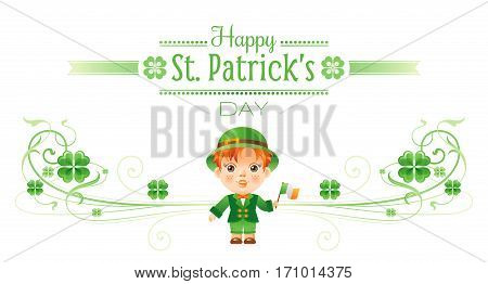 Happy Saint Patrick day border banner, isolated white background. Irish shamrock clover, green leaf frame, text lettering logo, baby boy icon. Traditional Northern Ireland celtic poster