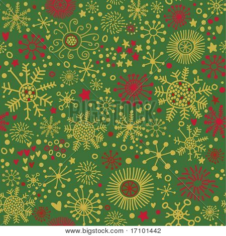 Christmas pattern in green and red, snowflakes