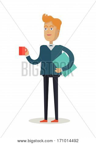 Man character vector. Cartoon in flat design. Smiling man in suite and butterfly  with folder and cup of coffee. Student, office worker, employee, teacher, lecturer, manager. Isolated on white.