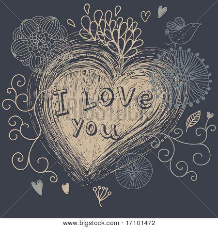 I love you - retro romantic background