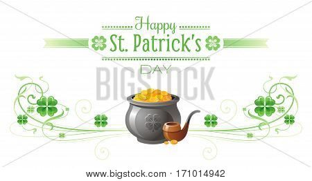 Happy Saint Patrick day border banner, isolated white background. Irish shamrock clover, green leaf frame, text lettering logo, gold pot pipe icon. Traditional Northern Ireland celtic poster