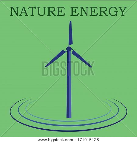 Windmill alternative and renewable energy supply source. Icon of windmill and wind energy. Nature energy.