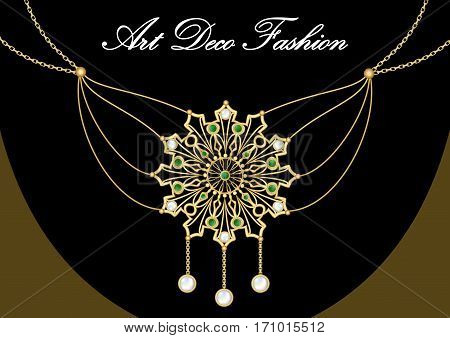 Gold necklace with pendant rich filigree golden star decorated with pearl and green emeralds on fine golden chain elegant vintage jewel in art deco style